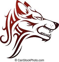 Lobo, cabeça, tatuagem,
