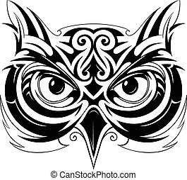Owl head tattoo - Vector illustration with owl head tattoo...