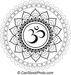 Sanskrit sacred symbol Om with ethn - Om, Aum sanskrit...