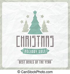 Christmas Sale Label on Vintage Textured Paper
