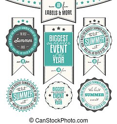 Summer events labels - Collection of summer events related...