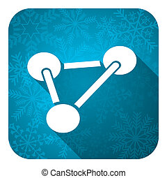 chemistry flat icon, christmas button, molecule sign
