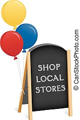 Sign, Chalk board Easel, Shop Local - Sidewalk chalk board...