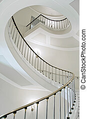 White elegance. - Stairwell in the Polish palace. Royal...