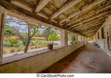 Carmel mission courtyard corridor