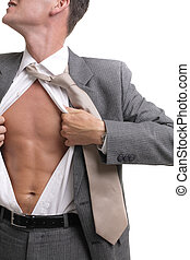 release! - young businessman dressed in suit, shirt and tie...