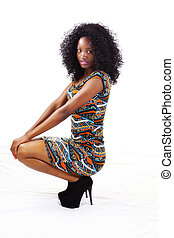 African American Teen Girl Squatting In Dress - Attractive...