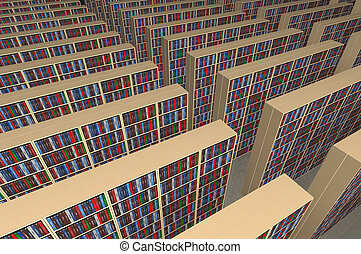 Endless library - An infinite library with rows of...