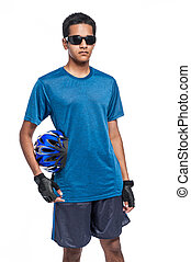 Dude in Shades with Bicycle Helmet