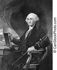 George Washington 1731-1799 on engraving from 1859 First...