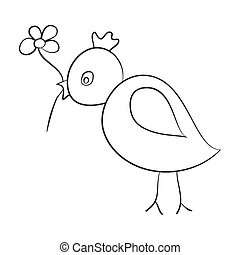 Sketch of the bird with a flower in its beak