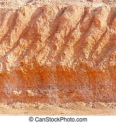 Lateritic soil cross section - Close up red color lateritic...