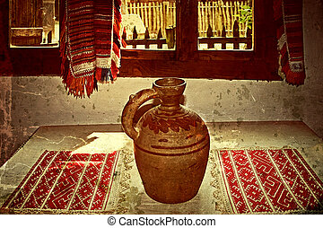 Old photo with Romanian traditional home interior 2 -...