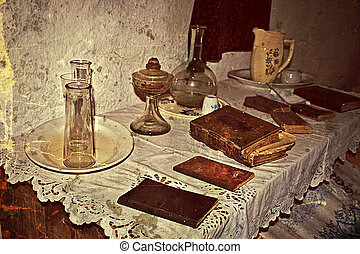 Old photo with Romanian traditional home interior 4 -...