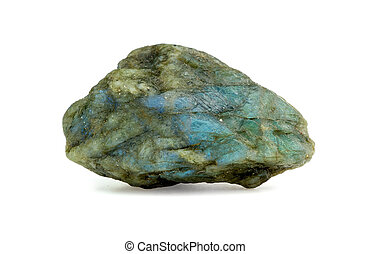 Isolated studio shot of glowing blue labradorite rough...