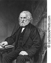 Henry Wadsworth Longfellow (1807-1882) on engraving from...