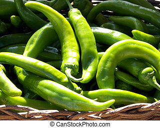Basket of Chilis - Green chili peppers in a basket at the...