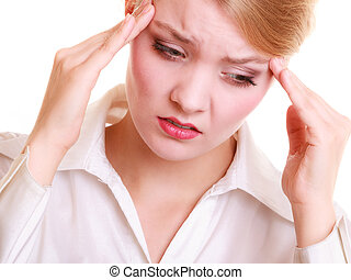 Headache. Woman suffering from head pain isolated. -...
