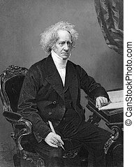 John Herschel (1792-1871) on engraving from 1873. English...