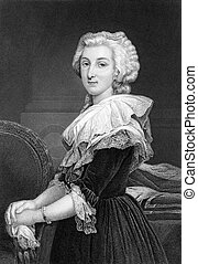 Marie Antoinette (1755-1793) on engraving from 1873. Queen...