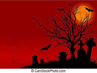 Halloween landscape - Vector illustration of Halloween...