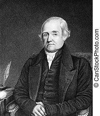 Noah Webster (1758-1843) on engraving from 1835. American...