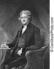 Thomas Jefferson (1743-1826) on engraving from 1873....