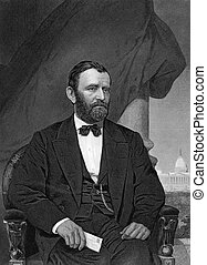 Ulysses S Grant 1822-1885 on engraving from 1873 18th...
