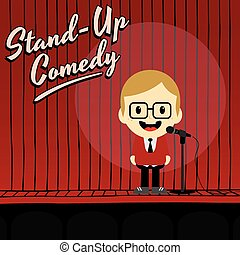 male stand up comedian cartoon character