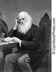 William Cullen Bryant (1794-1878) on engraving from 1873....
