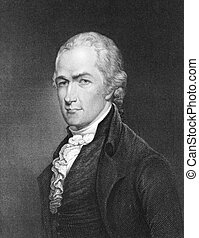 Alexander Hamilton (1755-1804) on engraving from 1835....