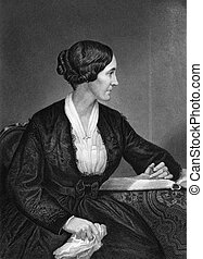 Alice Cary (1820-1871) on engraving from 1873. American...