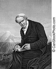 Alexander von Humboldt (1769-1859) on engraving from 1873....