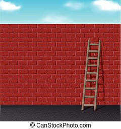 ladder leans on red brick wall - wooden ladder leans on red...