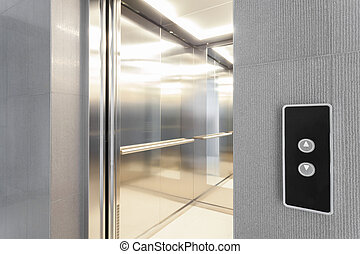 Entry to elevator - Close-up of entry to elevator in modern...
