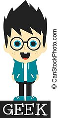 geek boy cartoon character theme vector art illustration