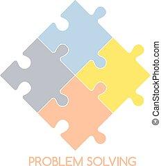 puzzle problem solve theme vector art illustration