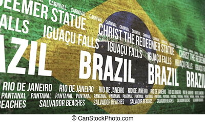 Brazil Flag Tourism Attractions - Scrolling banner with the...