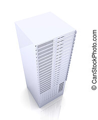 19inch Server - 3D rendered Illustration. Isolated on white....