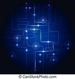 Abstract hi-tech circuit blue background. Vector illustration.