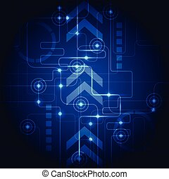 Abstract technology blue background. Vector illustration. -...
