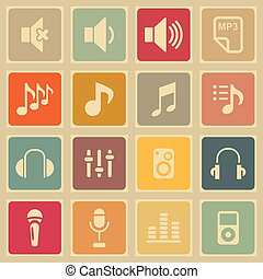 Music icons - Music audio web volume icon set