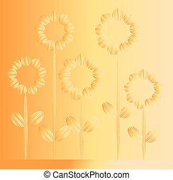 Five orange flowers on orange and yellow background