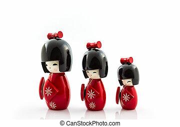 japonés, kokeshi, dolls.,