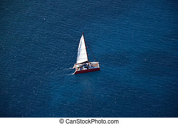 Aerial Catamaran - Aerial view of catamaran from helicopter