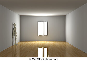 Empty room - Melancholic - 3D rendered Interior. Melancholic...
