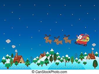 Christmas theme santa claus reindeer over hills - Christmas...