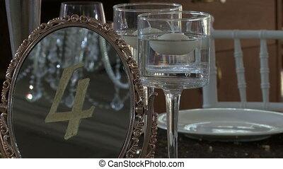 Stylishly decorated table for celebration, close-up