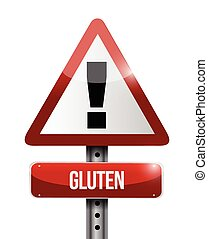 gluten warning sign illustration design