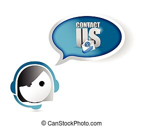 customer service contact us concept illustration design over...